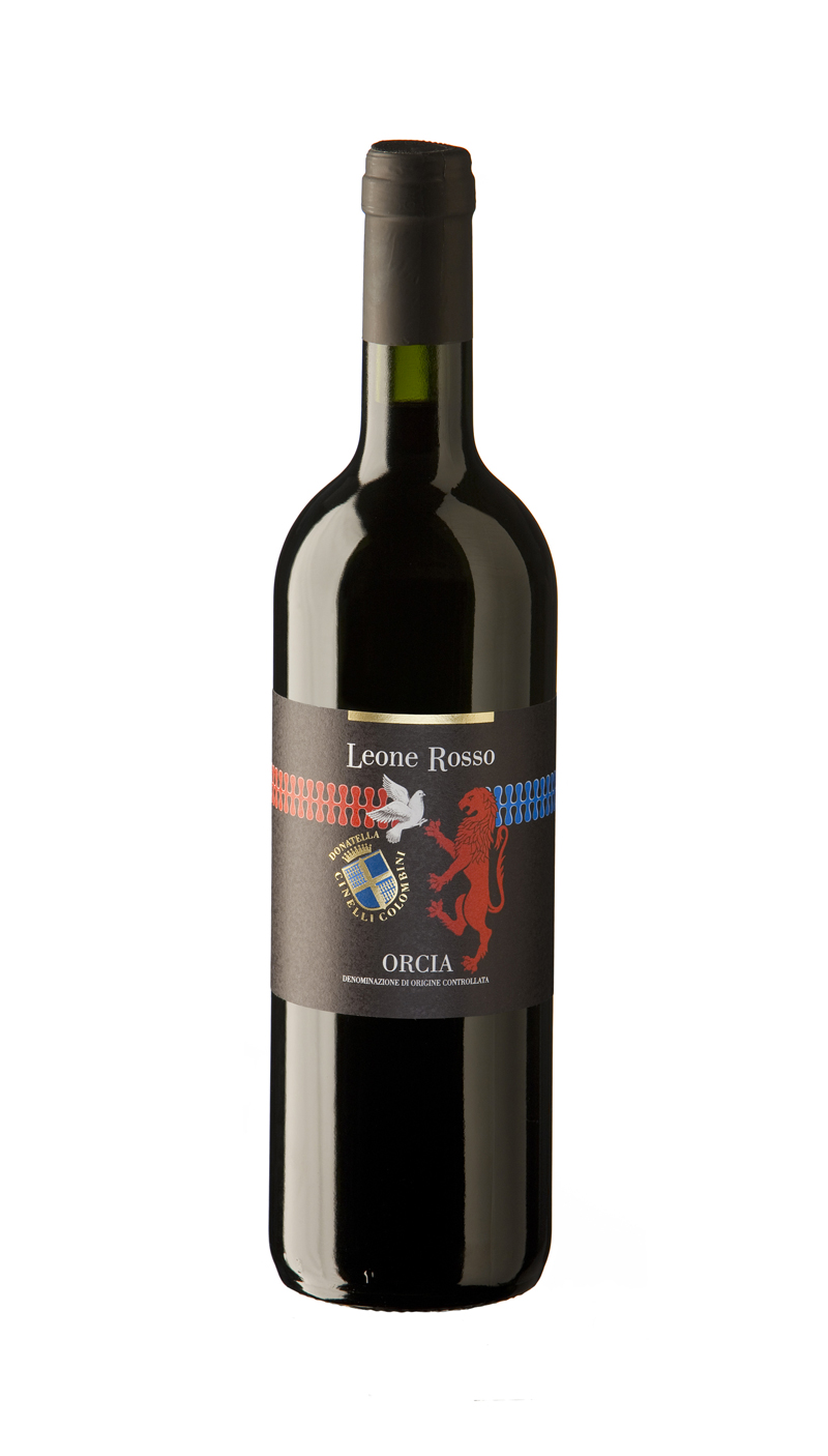 bottiglia di vino leone rosso