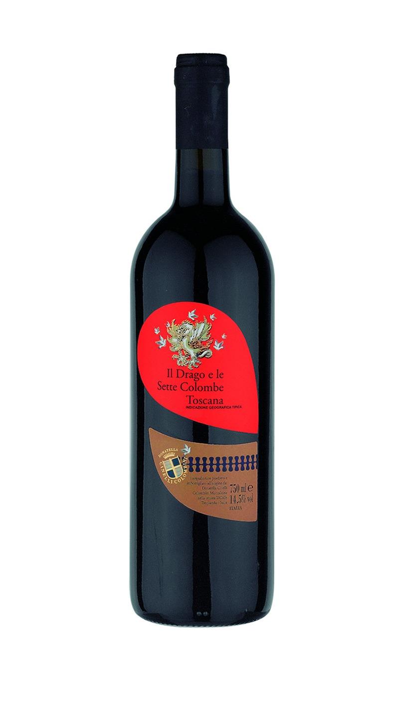 bottiglia di vino il drago e le sette colombe